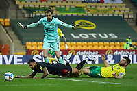 20th April 2021; Carrow Road, Norwich, Norfolk, England, English Football League Championship Football, Norwich versus Watford; Grant Hanley of Norwich City tackles Andre Gray of Watford as he was through on goal and the ball is cleared