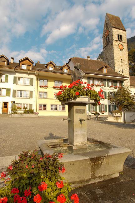 Interlaken Bernese Alps Switzerland - River and wooden wier