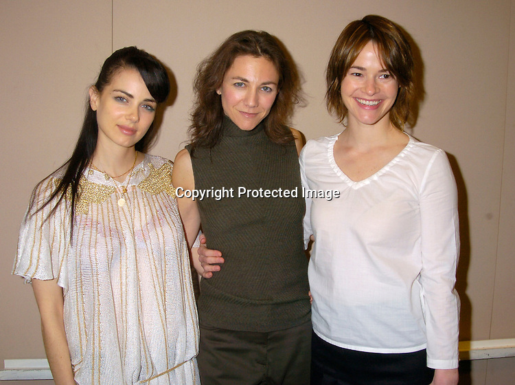 Mia Kirshner, the Executive Producer Ilene Chaiken and ..Leisha Hailey..at the 11th Original Gay, Lesbian, Bi-sexual and  Transgender Business and Entertainment Expo on March 21, 2004 at the Jacob Javits Center in New York City.          Photo by Robin Platzer, Twin Images