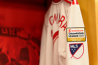 """Harrison, NJ - Thursday March 01, 2018: Alejandro Romero Gamarra """"Kaku"""", New York Red Bulls locker room. The New York Red Bulls defeated C.D. Olimpia 2-0 (3-1 on aggregate) during a 2018 CONCACAF Champions League Round of 16 match at Red Bull Arena."""