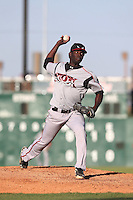 Rafael De Paula (37) of the Lake Elsinore Storm pitches during a game against the Lancaster JetHawks at The Hanger on May 9, 2015 in Lancaster, California. Lancaster defeated Lake Elsinore, 3-1. (Larry Goren/Four Seam Images)
