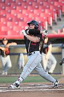 Shane Hoelscher (22) of the Modesto Nuts bats against the High Desert Mavericks at Heritage Field on June 3, 2016 in Adelanto, California. Modesto defeated High Desert, 2-1. (Larry Goren/Four Seam Images)
