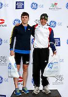 Photo: Richard Lane/Richard Lane Photography. GE Parc Bryn Bach Triathlon. 19/09/2010. (lt to rt) David Bishop (2nd) and Tom Bishop (1st) in the Junior Super Series Men Champions.