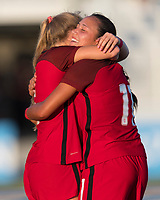Bradenton, FL - Sunday, June 12, 2018: Maya Doms, celebration during a U-17 Women's Championship Finals match between USA and Mexico at IMG Academy.  USA defeated Mexico 3-2 to win the championship.