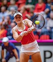 Den Bosch, The Netherlands, Februari 9, 2019,  Maaspoort , FedCup  Netherlands - Canada, First round match : Bianca Andreescu (CAN)<br /> Photo: Tennisimages/Henk Koster