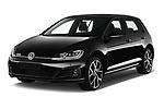 2017 Volkswagen Golf GTD 5 Door Hatchback angular front stock photos of front three quarter view