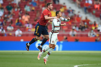 4th June 2021; Madrid, Spain International football friendly, Spain versus Portugal,  Aymeric Laporte of Spain and Cristiano Ronaldo of Portugal