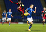 St Johnstone v St Mirren…16.01.21   McDiarmid Park     SPFL<br />Joe Shaughnessy clears from Callum Hendry<br />Picture by Graeme Hart.<br />Copyright Perthshire Picture Agency<br />Tel: 01738 623350  Mobile: 07990 594431