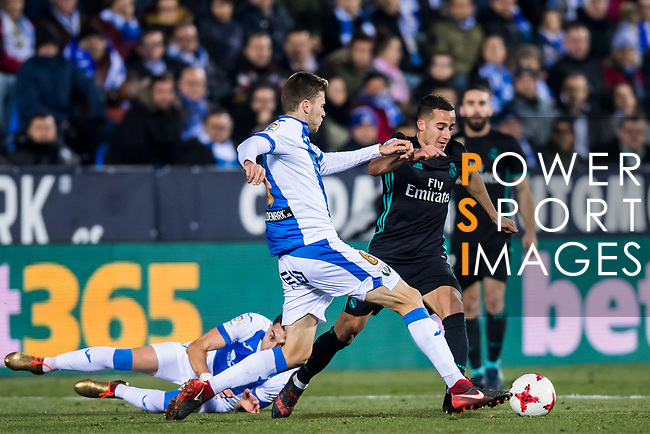 Lucas Vazquez (R) of Real Madrid battles for the ball with Gerard Gumbau Garriga of CD Leganes during the Copa del Rey 2017-18 match between CD Leganes and Real Madrid at Estadio Municipal Butarque on 18 January 2018 in Leganes, Spain. Photo by Diego Gonzalez / Power Sport Images