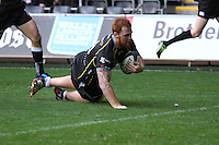 Sunday 19 October 2014<br /> Pictured: Ospreys' Dan Baker goes over for a try.<br /> Re: Ospreys v Treviso, Heineken Champions Cup at the Liberty Stadium, Swansea