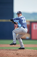 West Michigan Whitecaps relief pitcher Oswaldo Castillo (22) delivers a pitch during a game against the Quad Cities River Bandits on July 23, 2018 at Modern Woodmen Park in Davenport, Iowa.  Quad Cities defeated West Michigan 7-4.  (Mike Janes/Four Seam Images)