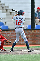 Danville Braves center fielder Drew Waters (12) swings at a pitch during a game against the  Johnson City Cardinals at TVA Credit Union Ballpark on July 23, 2017 in Johnson City, Tennessee. The Cardinals defeated the Braves 8-5. (Tony Farlow/Four Seam Images)