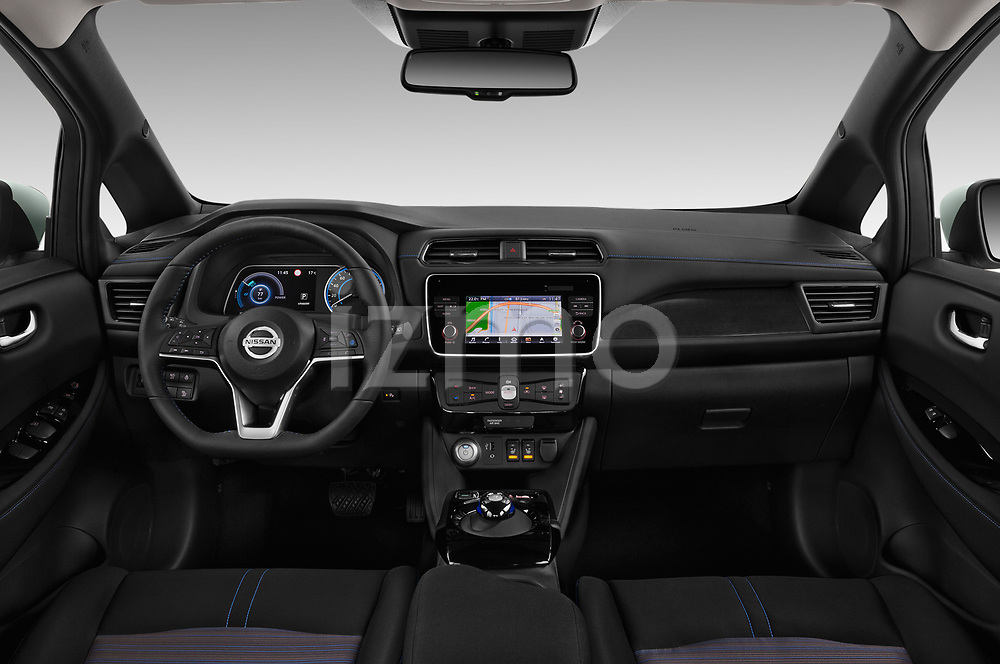 Stock photo of straight dashboard view of a 2018 Nissan Leaf N Connecta 5 Door Hatchback