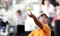 Il tennista giapponese Kei Nishikori in azione nel corso degli Internazionali d'Italia di tennis a Roma, 18 maggio <br /> Japanese tennis player Kei Nishikori in action during the italian Masters tennis in Rome, on May 18,2017.<br /> UPDATE IMAGES PRESS/Isabella Bonotto