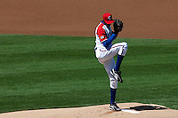 15 March 2009: #52 Aroldis Chapman of Cuba pitches against Japan during the 2009 World Baseball Classic Pool 1 game 1 at Petco Park in San Diego, California, USA. Japan wins 6-0 over Cuba.