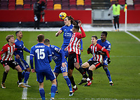Caglar Soyuncu of Leicester City heads the ball clear during Brentford vs Leicester City, Emirates FA Cup Football at the Brentford Community Stadium on 24th January 2021
