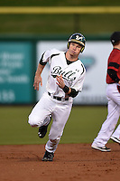 USF Bulls outfielder Luke Maglich (18) running the bases during a game against the Louisville Cardinals on February 14, 2015 at Bright House Field in Clearwater, Florida.  Louisville defeated USF 7-3.  (Mike Janes/Four Seam Images)