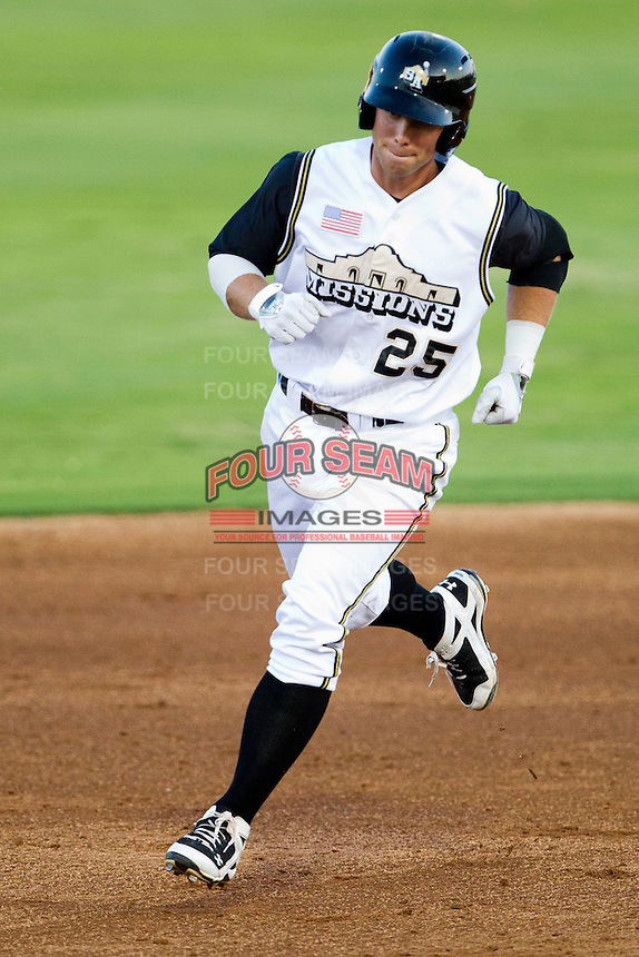 James Darnell (25) of the San Antonio Missions rounds the bases after hitting a home run during a game against the North All-Stars 2011 in the Texas League All-Star game at Nelson Wolff Stadium on June 29, 2011 in San Antonio, Texas. (David Welker / Four Seam Images)..