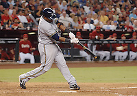 Aug 21, 2007; Phoenix, AZ, USA; Milwaukee Brewers second baseman (23) Rickie Weeks hits an RBI triple in the fifth inning against the Arizona Diamondbacks at Chase Field. Mandatory Credit: Mark J. Rebilas-US PRESSWIRE Copyright © 2007 Mark J. Rebilas