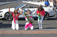 30th May 2021, Indianapolis, Indiana, USA; NTT Indy Car Series driver Helio Castroneves celebrates at the yard of bricks with wife Adriana and daughter Mikaella after winning the 105th running of the Indianapolis 500 on May 30, 2021 at the Indianapolis Motor Speedway in Indianapolis, Indiana.
