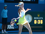 Caroline Wozniacki (DEN) wins at Australian Open in Melbourne Australia on 17th January 2013