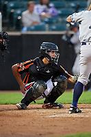 Aberdeen IronBirds catcher Alfredo Gonzalez (19) during a game against the Staten Island Yankees on August 23, 2018 at Leidos Field at Ripken Stadium in Aberdeen, Maryland.  Aberdeen defeated Staten Island 6-2.  (Mike Janes/Four Seam Images)