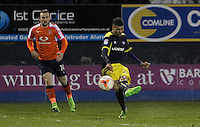 Marvin Johnson of Oxford United scores their third goal during the The Checkatrade Trophy Semi Final match between Luton Town and Oxford United at Kenilworth Road, Luton, England on 1 March 2017. Photo by Stewart  Wright  / PRiME Media Images.
