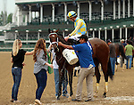 LOUISVILLE, KY -   Diva Express (Afleet Express x Phi Beta Diva, by Mr. Greeley) after dead heating with I'm a Looker in the G3 Winning Colors Stakes at Churchill Downs, ridden by jockey Julien Leparoux. She is owned by John C. Oxley and trained by Mark E. Casse. (Photo by Mary M. Meek/Eclipse Sportswire/Getty Images)