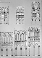 Teaching Aid: Gothic wall elevations.<br /> Noyon, Laon, Paris, Chartres, Reims, Amiens
