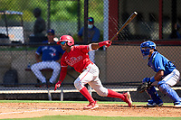 Philadelphia Phillies Uziel Viloria (23) bats during an Extended Spring Training game against the Toronto Blue Jays on June 12, 2021 at the Carpenter Complex in Clearwater, Florida. (Mike Janes/Four Seam Images)