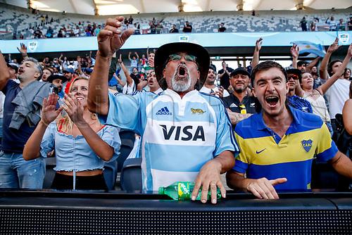 14th November 2020, Sydney, Australia;  Fans celebrate after the Pumas beat the All Blacks. Tri Nations rugby union test match,  New Zealand All Blacks versus Argentina Pumas. Bankwest Stadium, Sydney, Australia.