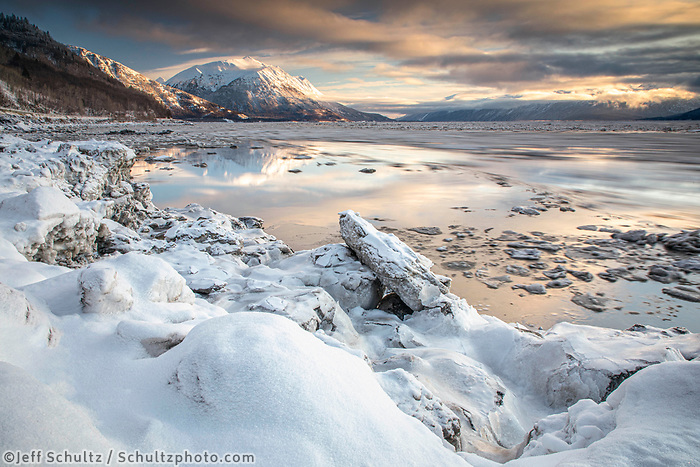 Winter Landscape of ice flows and ice pans on Turnagain Arm. Chugach and Kenai Mountains.  Southcentral, Alaska<br /> <br /> <br /> Photo by Jeff Schultz/  (C) 2020  ALL RIGHTS RESERVED