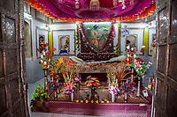 India, Dehradun.  Interior Shrine at a  Sikh Temple built in 1707--the Durbar Shri Guru Ram Rai Ji Maharaj.