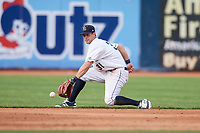 Lake County Captains shortstop Ernie Clement (31) fields a ground ball during the first game of a doubleheader against the South Bend Cubs on May 16, 2018 at Classic Park in Eastlake, Ohio.  South Bend defeated Lake County 6-4 in twelve innings.  (Mike Janes/Four Seam Images)