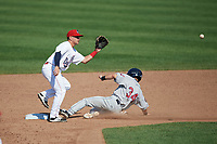 Auburn Doubledays shortstop Paul Panaccione (22) waits for a throw as Tyler Friis (34) safely steals second base during the second game of a doubleheader against the Mahoning Valley Scrappers on July 2, 2017 at Falcon Park in Auburn, New York.  Mahoning Valley defeated Auburn 3-2.  (Mike Janes/Four Seam Images)