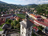 Altstadt und Glockenturm Kirche St. Katharina, Kremnica, Banskobystricky kraj, Slowakei, Europa<br /> Historic city and bell tower of St. Cathrine, Kremnica, Banskobystricky kraj, Slovakia, Europe