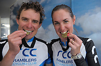 Senior male and female winners Josh and Kerri-Anne Page. 2018 NZ Age Group Road Cycling Championships in Carterton, New Zealand on Sunday, 22 April 2018. Photo: Dave Lintott / lintottphoto.co.nz