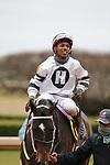 January 23, 2021: Jockey Ricardo Santana, Jr. after winning the Fifth Season Stakes at Oaklawn Racing Casino Resort in Hot Springs, Arkansas on January 22, 2021. Justin Manning/Eclipse Sportswire/CSM