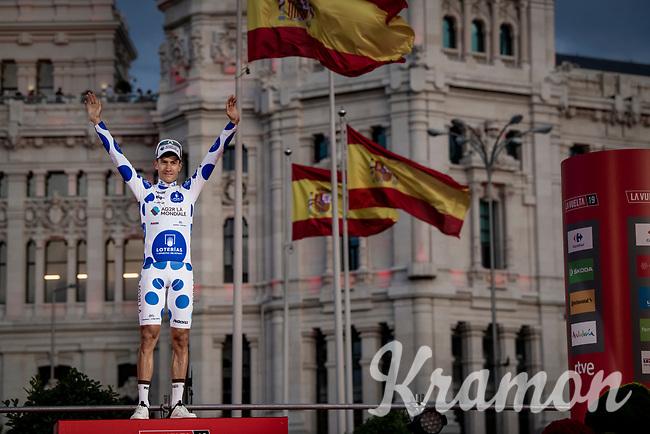 Polka Dot Jersey / KOM winner Geoffrey Bouchard (FRA/AG2R La Mondiale) celebrates his jersey win on the final podium in Madrid<br /> <br /> Stage 21: Fuenlabrada to Madrid (107km)<br /> La Vuelta 2019<br /> <br /> ©kramon