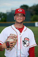 Greeneville Reds pitcher Jerry D'Andrea (35) poses for a photo before a game against the Pulaski Yankees on July 27, 2018 at Pioneer Park in Tusculum, Tennessee.  Greeneville defeated Pulaski 3-2.  (Mike Janes/Four Seam Images)
