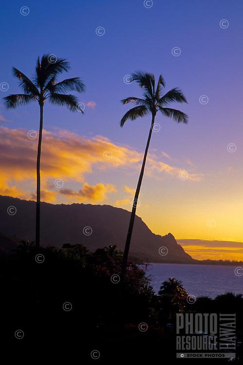 Sunset at Makahoa point, known as Bali Hai, north shore on the island of Kauai