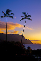 Sunset at Makahoa point, known as Bali Hai, north shore on the island of Kauai