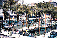 San Diego: Horton Plaza in the 1920's--tinted photo (blow up). U.S. Grant Hotel in background.