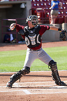 Quad Cities River Bandits catcher Trent Woodward (18) throws down to second baseduring a Midwest League game against the Wisconsin Timber Rattlers on July 17th, 2015 at Fox Cities Stadium in Appleton, Wisconsin. Quad Cities defeated Wisconsin 4-2. (Brad Krause/Four Seam Images)