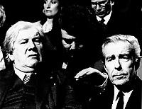 December 10,1985 File Photo - Peter Ustinov (L), Jean-Jacques Cervan-Schreiber (R)attend the  launch of LE DEFI MONDIAL
