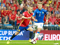 Spain's David Jimenez Silva (l) and Italy's Ciro Immobile during FIFA World Cup 2018 Qualifying Round match. September 2,2017.(ALTERPHOTOS/Acero)