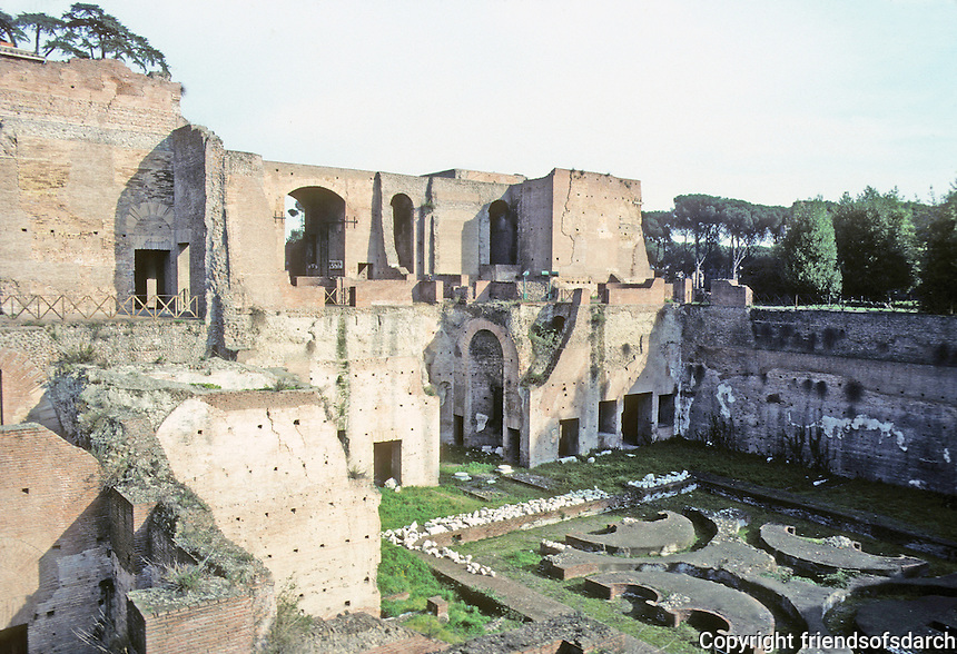 Italy: Rome--Palatine Hill. The Domus Augustana, 1st  C. A.D.--Domitian. The monumental entrance way facing Circus Maximus with complicated design.