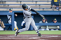 Western Michigan Broncos outfielder Blake Dunn (1) swings the bat against the Michigan Wolverines on March 18, 2019 in the NCAA baseball game at Ray Fisher Stadium in Ann Arbor, Michigan. Michigan defeated Western Michigan 12-5. (Andrew Woolley/Four Seam Images)