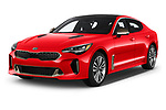 2019 KIA Stinger GT 5 Door Hatchback angular front stock photos of front three quarter view