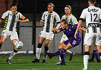 Anderlecht forward Jarne Teulings (16) pictured shooting towards goal during a female soccer game between Sporting Charleroi and RSC Anderlecht on the third matchday of the 2020 - 2021 season of Belgian Scooore Womens Super League , friday 2 nd of October 2020  in Marcinelle , Belgium . PHOTO SPORTPIX.BE | SPP | DAVID CATRY